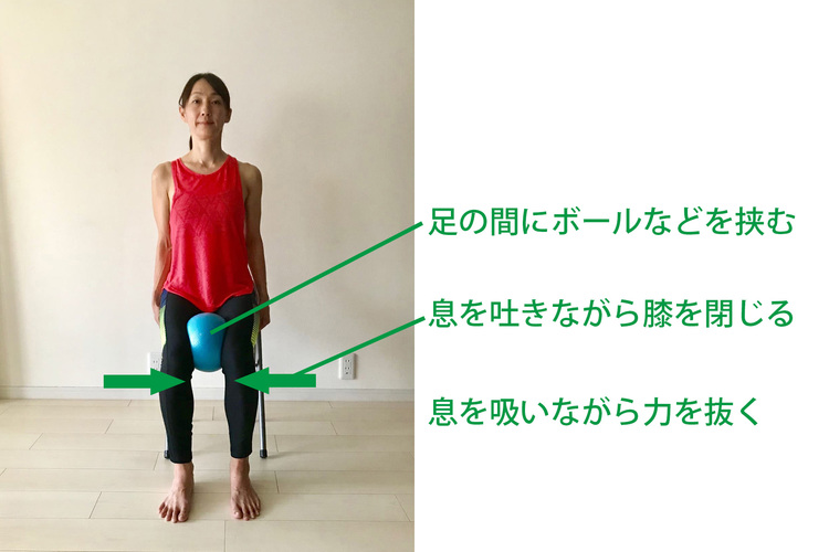 内もも痩せに効果的なボールスクイーズキープ